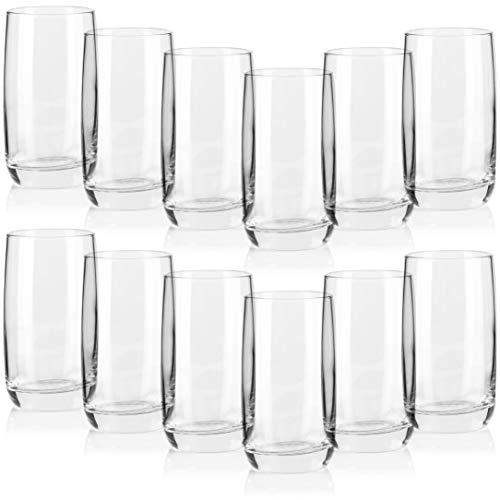 COM-FOUR® 12 vasos de agua con un diseño moderno y elegante, apto para lavavajillas (Vaso de agua - 12 piezas)