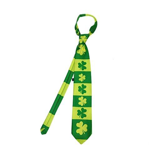 LUOEM St.Patrick Krawatte Irische Shamrock-Krawatte Die grüne Krawatte der Männer...