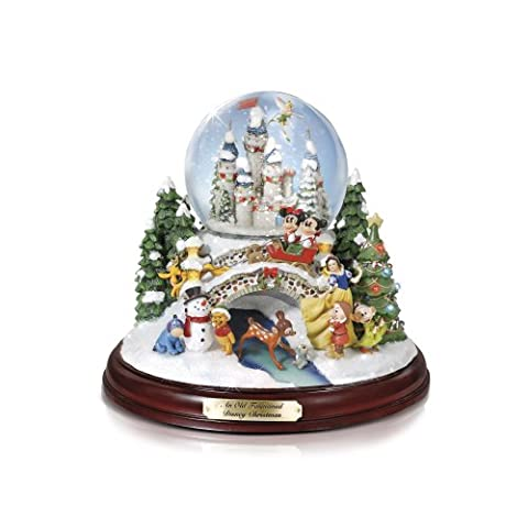 13 Character Disney Musical Snowglobe With Lights, Christmas Melodies and Swirling Snow By The Bradford Exchange