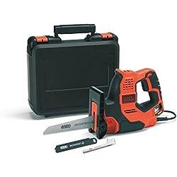 BLACK+DECKER RS890K-QS Scie à main filaire - Capacités de coupe : 3 mm métal, 100 mm bois, 50 mm tuyau plastique et branches - 3 lames - Livrée en coffret 500W, Noir, Orange,