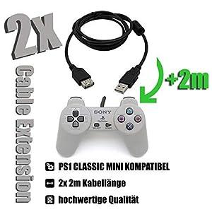 2 x Kabel für Playstation Classic Mini Verlängerungskabel PS1 Mini Controller 2x 2m für Playstation Classic PS1 Mini schwarz