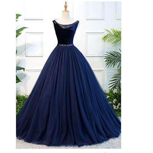 QAQBDBCKL Samt Navy/Pfau Blau Prinzessin Mittelalterlichen Kleid Renaissance-Kleid Königin Kostüm Viktorianischen/Marie Antoinette/Colonial Belle - Belle Samt Kostüm