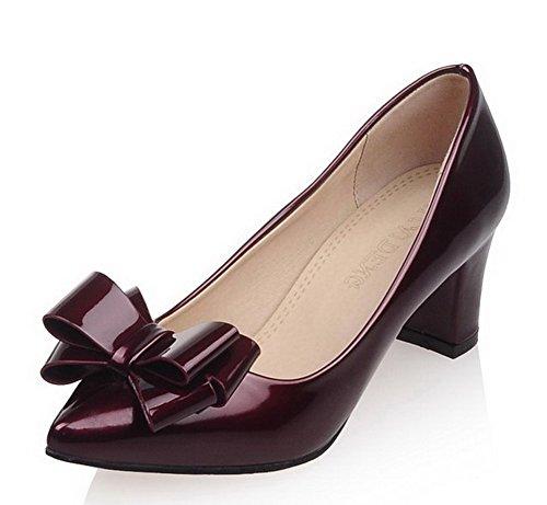 AllhqFashion Femme Pointu à Talon Correct Verni Couleur Unie Tire Chaussures Légeres Rouge Vineux