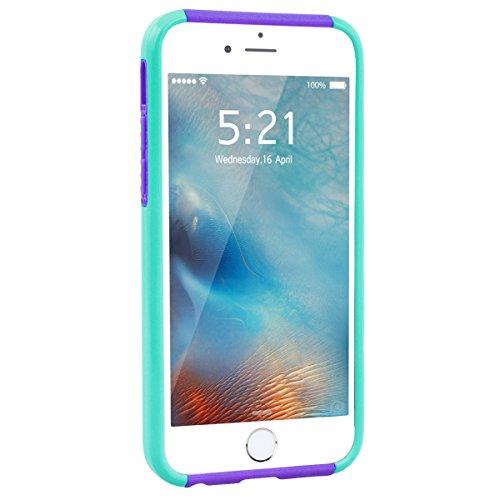 GrandEver iPhone 6/iPhone 6S Hülle Weiche Silikon Handyhülle PC & TPU Bumper 2 in 1 Schutzhülle Schutzhülle für iPhone 6/iPhone 6S Rückschale Anti-Kratzer Stoßdämpfung Ultra Slim Rückseite Silicon Bac Minze Grün Weiß /Lila
