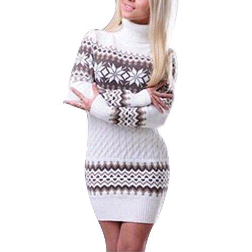 Winter Sweater Strickkleid Warm Strickpullover lang mit Rollkragen slim fit Pulloverkleid mit Schneeflocken Printed (Schneeflocken-pullover)