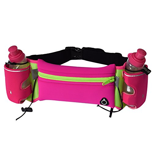 CHIC-CHIC Hydration Running Belt With 2 Water Bottles 6 Oz for Marathons Hiking Cycling Fitness Exercise,Pockets Fits iPhones 6/6S Plus (Pink)