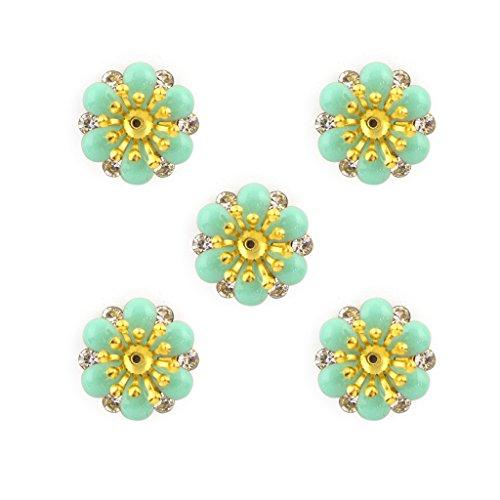 Jade Green smalto, ottone e Diamante Fiore Cucire pezzi speciali - abbellimenti per Abbigliamento, Accessori - Confezione da 5
