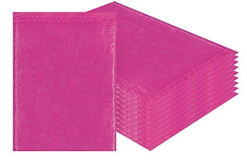 Amiff Luftpolsterversandtaschen, 14,25 x 19 cm, Pink Poly Kissenumschläge, groß, 10 Stück Außengröße 14,25 x 20 (14 1/4 x 20). Haftklebung. Versand Versand Versand Verpackung