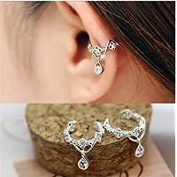 Cvictims Fashion Ear Cuff Wrap Rhinestone Cartilage Clip On Earring Non Piercing Jewelry (Rhinestone)