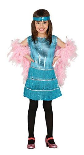 Guirca Blaues Charleston Kleid mit Fransen und Pailletten für Mädchen Gr. 110-146, Größe:140/146