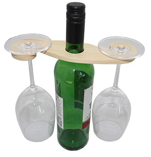rukauf Weinflaschen und Gläserhalter aus Holz für 2 Gläser - Wein-Buttler Wine-Caddy Wein-Glas-Aufhänger Weinglas-Halter (Holz-wein Glas-halter Und)