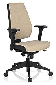 hjh OFFICE 608819 Bürostuhl Drehstuhl PRO-TEC 500 Stoff dunkelgrau beige, Bürodrehstuhl ergonomisch, sehr gute Polsterung, Rückenlehne höhenverstellbar, verstellbare Armlehnen, Schreibtischstuhl