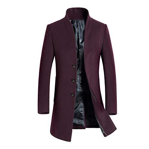 KPILP Herren Warme Winter Trench Revers Woolen Elegante Lange Outwear Zweireiher Windjacke Revers Smart Mantel(B-rot,EU-50/CN-L)