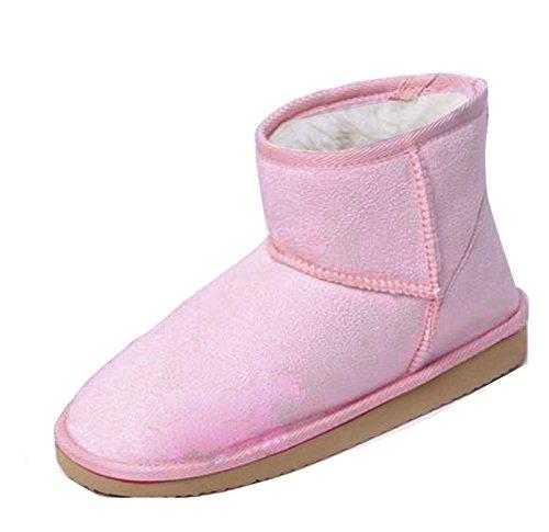 Gaorui Damen Winter Schlupfstiefel Kurzschaft Warm gefütterte Schneestiefel Süßig Pink Braun