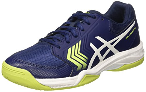 Asics Gel-Dedicate 5, Zapatillas de Tenis para Hombre, Azul (Indigo Blue/White/Safety Yellow), 42.5 EU