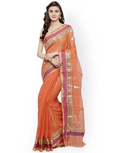Indian Handicrfats Export Geroo Jaipur Orange Tissue Solid Kota Saree Tissue Silk Saree