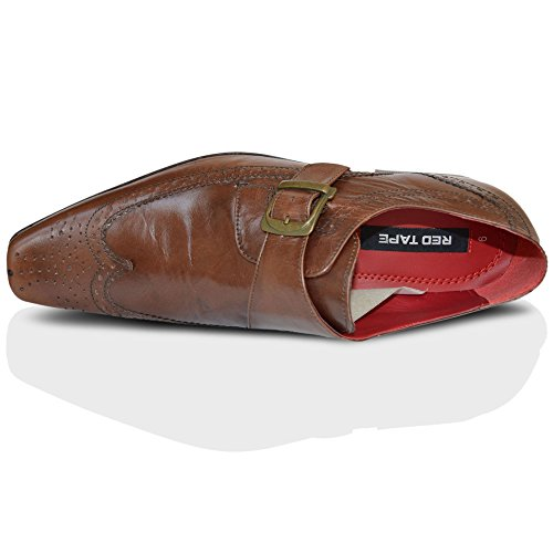 Red Tape Hammond Cuir Brun Brogue Moine Bout Pointu Buckle Chaussures Homme TAILLE ANGLAISE 7-11 Marron