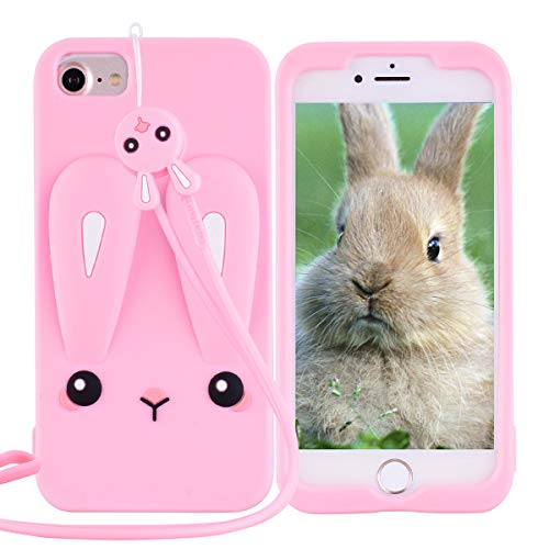 HopMore iPhone 6S / 6 (4.7 inch) Hülle Silikon Muster 3D Tier Kaninchen Ultra Dünn Slim Schutzhülle mit [Lanyard] Handyhülle Stoßfest Silikonhülle One Piece Case Cover - Rosa