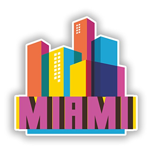 Miami Notebook Skin (2 x Miami Skyline vinyl Aufkleber Reise Gepäck # 10310 - 10cm/100mm Wide)
