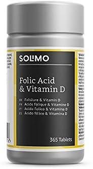 Marchio Amazon- Solimo Integratore alimentare di acido folico e vitamina D, 365 compresse