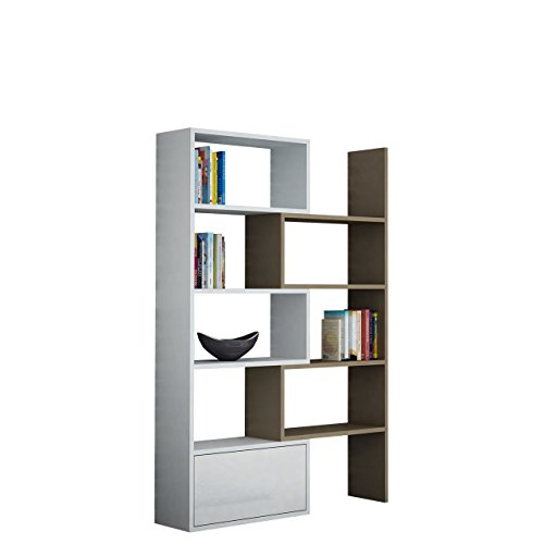 OUTLET !! Standregal Bücherregal Paco, Regal, Dekoregal, Aktenregal, Wandschrank, Universal Regal, HiFi-Regal Büroregal (Weiß / Latte)