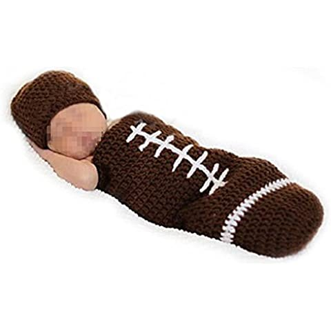 Hrph Super Rugby lindo hecho a mano del ganchillo del Knit Cap recién nacido foto del bebé Atrezzo Outfit Costume Set