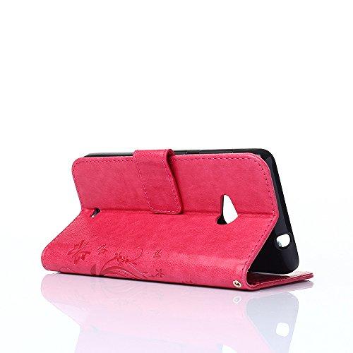 Cover Protettiva Nokia N535, Alfort 2 in 1 Custodia in Pelle Verniciata Goffrata Farfalle e Fiori Alta qualità Cuoio Flip Stand Case per la Custodia Nokia N535 Ci sono Funzioni di Supporto e Portafogl Rosso