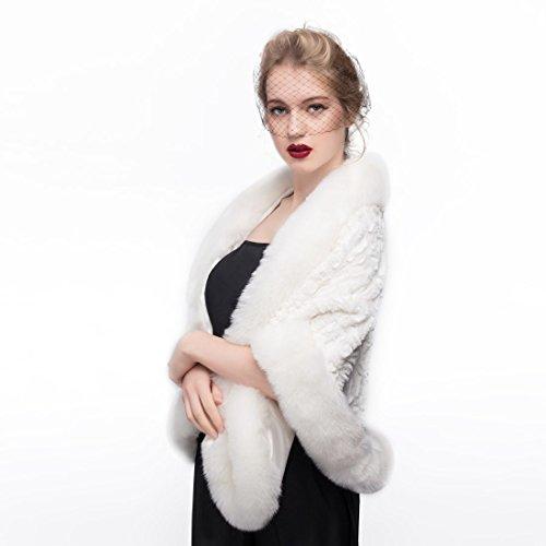 b4852f1cd BEAUTELICATE Estola Chal Pelo Mujer Boleros Marfil para Fiesta Bodas Novia  Invierno Vestido de Noche