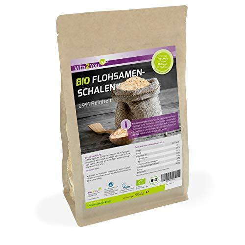 BIO Flohsamenschalen 99% Reinheit 1000g - Zippbeutel - 100% Bio-Anbau - 1kg indische Flohsamen Schalen - Premium Qualität