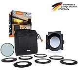 Rollei F:X Pro Starter Kit | Filterhalter für 100mm Rechteckfilter, inkl. Verlaufsfilter Soft GND8 & Polfilter, Objektivadapter 52 – 82mm, Filtertasche