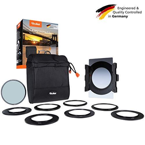 Rollei F:X Pro Starter Kit I Filterhalter für 100mm Rechteckfilter, inkl. Verlaufsfilter Soft GND8 & Polfilter, Objektivadapter 52 - 82mm, Filtertasche