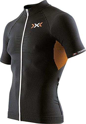 X-Bionic Herren Biking Man The Trick OW SH_SL.Full Zip T-Shirt, Black/Orange Shiny, XXL