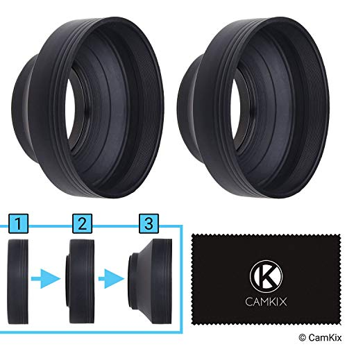 77mm Camera Lens Hood - Rubber - Set of 2 - Collapsible in 3 Steps - Sun  Shade/Shield - Reduces Lens Flare and Glare - Blocks Excess Sunlight for