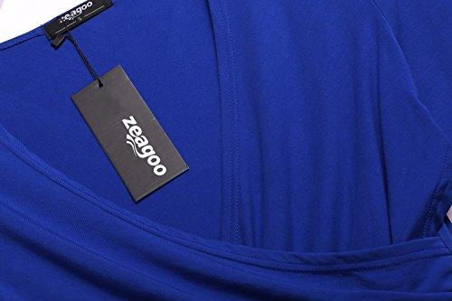 Zeagoo Damen V-Ausschnitt Langarmshirt Tunika Bluse Obertail T-Shirt mit Rüschen Dunkelblau-Neu