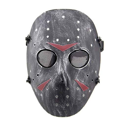 SGOYH Taktisch CS Games Airsoft Paintball Schutz Jason Metall Mesh Masken Volles Gesicht Schutzmaske für Cosplay Kostüm Party Halloween (Silber schwarz) (Silber Maske Kostüm)