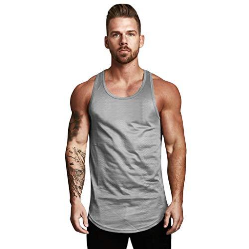 Fenverk Herren Fitness Shape Shirt Figur Formend Training Weste Sauna Schwitzeffekt Tank Top Stark Gym Bodyshape Sweat Anzug Taille Trainer Korsett Body Shaper (Grau,XXL)