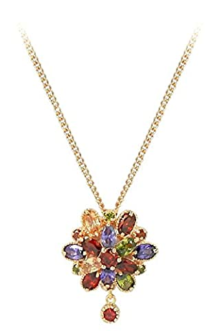 Rosette IMPERIALE - Genuine 18ct Rose Gold Finished Swarovski Elements Multi Coloured Crystals Luxury Pendant Necklace