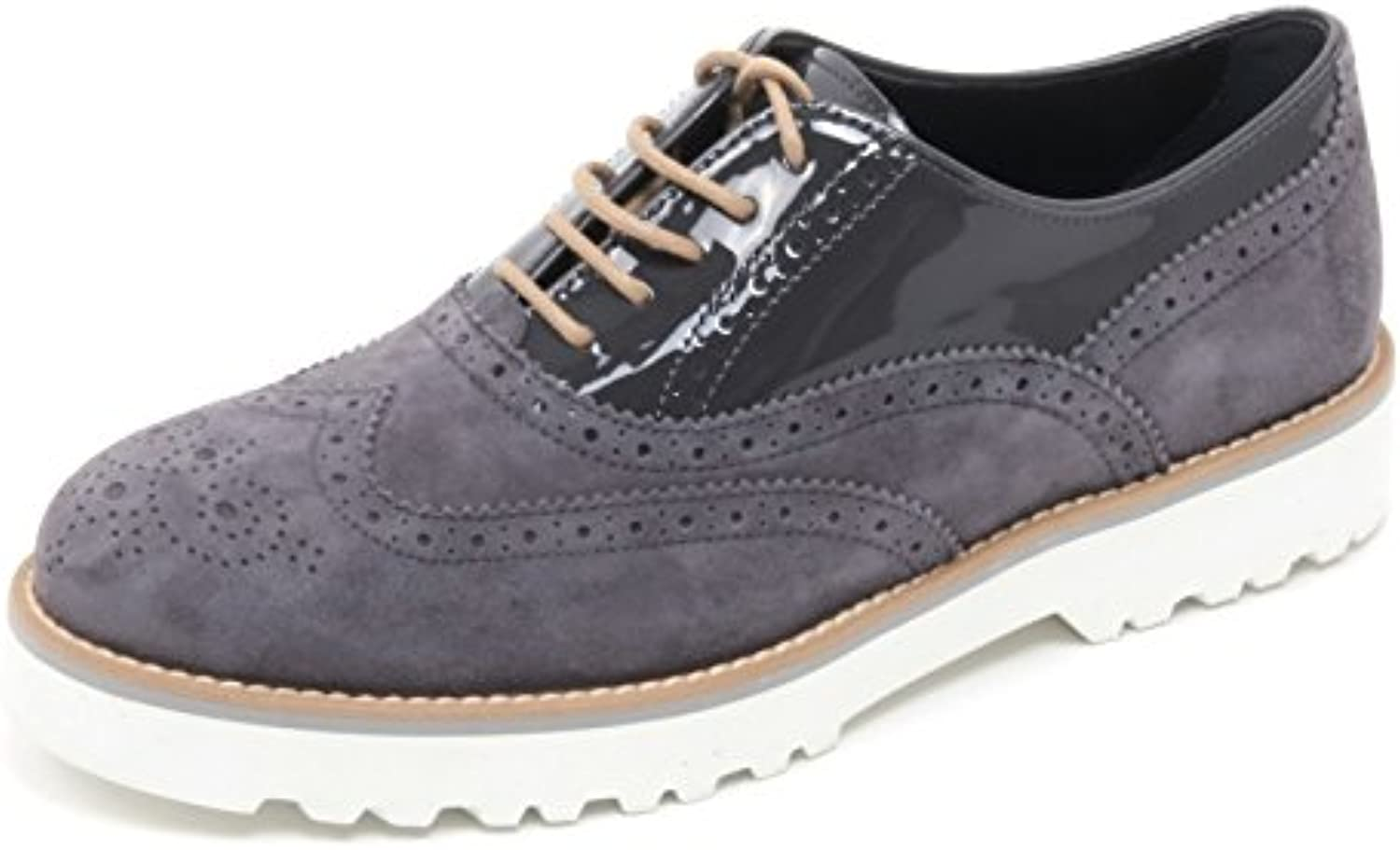 B6102 scarpa inglese donna HOGAN H259 ROUTE francesina grigio shoe woman
