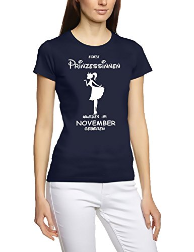Prinzessin Echte Kleid (Echte Prinzessinnen wurden im November geboren ! Damen - Mädchen Geburtstag T-SHIRT NAVY,)