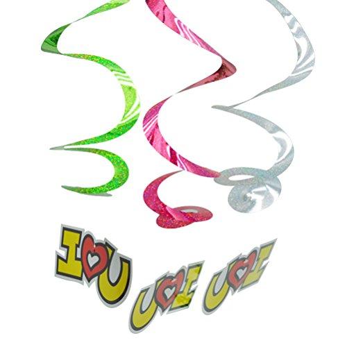 TOYMYTOY 3pcs I Love You Girlande Banner Spiral Wirbel-Deckenhänger für Hawaii Luau Party Geburtstag Dekoration (Zufällige Farbe)