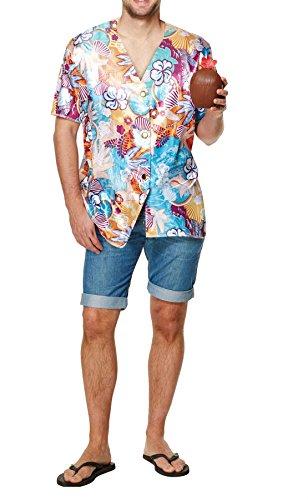 Islander-Fashions-Adult-Multi-Color-Hawaiano-Camiseta-de-Manga-Corta-Para-Hombre-Beach-Party-Fancy-Dress-Top-One-Size