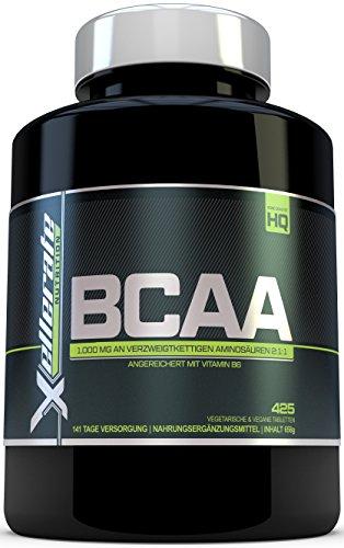 BCAA Tablette 1000 mg - 425 Tabletten – 3000 mg Tagesbedarf - 141 Tage Vorrat - 2:1:1 Mehrkettiges Aminosäuren-Nahrungsergänzungsmittel Angereichert Mit Vitamin B6 – In Großbritannien Hergestellte BCAA – Zutaten Beinhalten L-Leucin, L-Isoleucin, L-Valin und Vitamin B6 von Xellerate Nutrition