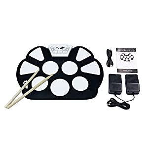 V.TOP 9 Pad Electronic Drum Set with Drum Sticks and Sustain Foot Pedal for Beginners and Children - Flexiable Silicon Roll Up Electronic Drums Pad Kit with Record Function Great Gift for Children and Kids Birthday Gift
