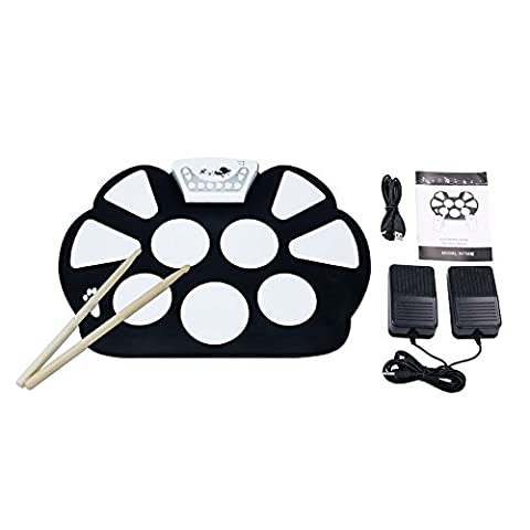 V.TOP Electronic Drum Kit Set With Drum Sticks - Roll Up Childrens Drum Kit Drum Practice Pad with Record Function for Beginner Children