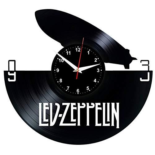 EVEVO Led Zeppelin Wanduhr Vinyl Schallplatte Retro-Uhr Handgefertigt Vintage-Geschenk Style Raum Home Dekorationen Tolles Geschenk Wanduhr Led Zeppelin