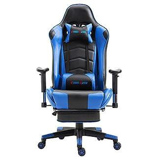 Storm Racer ergonómico Gaming Chair Silla de Respaldo Alto Silla de Oficina con reposapiés Ajuste reposacabezas y Apoyo Lumbar Silla de Racing