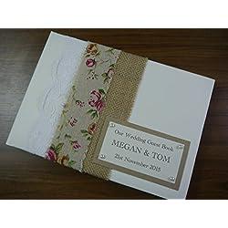Libro de firmas para boda personalizado. Encaje, arpillera y perlas