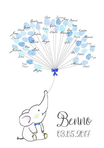 Geschenk personalisiert Gästebuch A3 Taufe Geburt Fingerabdruck-Baum Baby ELEFANT Junge -