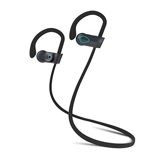 Joyeer Auricular inalámbrico Bluetooth prueba de sudor estéreo auriculares earbud gancho auricular de control de voz auriculares de llamada de respuesta con micrófono para SmartPhones ipad , blue