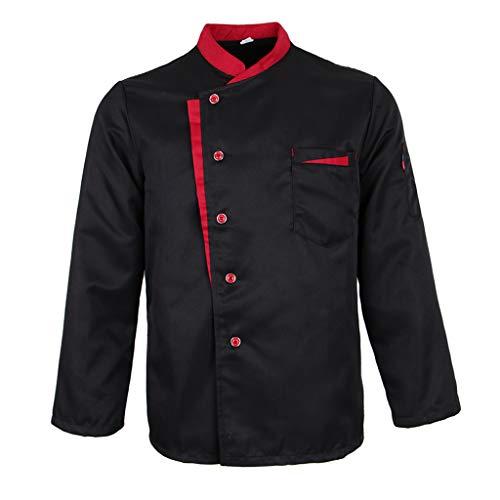 P Prettyia Damen Herren Kochjacke Langarm Bäckerjacke Kochkleidung Gastronomie Berufsbekleidung Knöpfe Chef Jacke Mantel Restaurant Koch Uniform - Schwarz, M - Tunika Chef Mantel